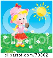 Royalty Free RF Clipart Illustration Of A Little Blond Girl Eating A Popsicle On A Hot Day