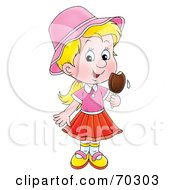 Royalty Free RF Clipart Illustration Of A Little Blond Girl Eating A Popsicle by Alex Bannykh