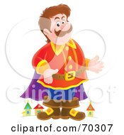 Royalty Free RF Clipart Illustration Of A Friendly Airbrushed Giant Standing In Front Of A Town by Alex Bannykh
