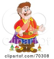 Royalty Free RF Clipart Illustration Of A Friendly Giant Standing In Front Of A Town by Alex Bannykh