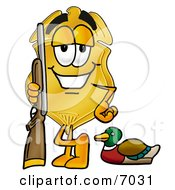 Clipart Picture Of A Badge Mascot Cartoon Character Duck Hunting Standing With A Rifle And Duck by Toons4Biz