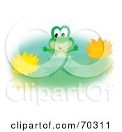 Royalty Free RF Clipart Illustration Of A Happy Green Frog Wading By Yellow Lotus Flowers In A Pond