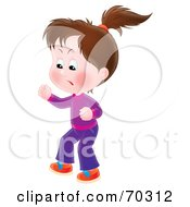 Royalty Free RF Clipart Illustration Of A Bratty Airbrushed Little Brunette Girl Stomping And Yelling
