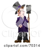 Royalty Free RF Clipart Illustration Of A Dirty Airbrushed Chimney Sweep Holding A Brush