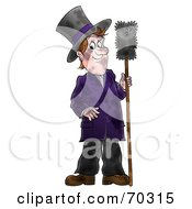 Royalty Free RF Clipart Illustration Of A Dirty Chimney Sweep Holding A Brush