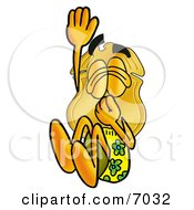 Clipart Picture Of A Badge Mascot Cartoon Character Plugging His Nose While Jumping Into Water