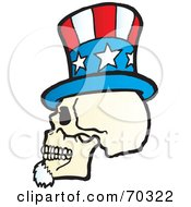 Royalty Free RF Clipart Illustration Of An Uncle Sam Skull Wearing A Hat by Snowy