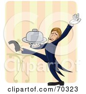 Royalty Free RF Clipart Illustration Of A Professional Waiter Strutting And Holding Out A Platter