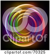 Royalty Free RF Clipart Illustration Of A Black Background With Neon Light Circles by elaineitalia