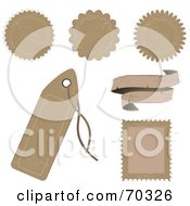 Royalty Free RF Clipart Illustration Of A Digital Collage Of Blank Distressed Tan Labels Tags Stamps And Banners
