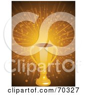 Royalty Free RF Clipart Illustration Of A Gold Trophy Cup Over A Bursting Golden Background With Particles by elaineitalia