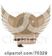 Royalty Free RF Clipart Illustration Of A Distressed Winged Shield With A Blank Banner And A Disco Ball