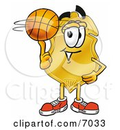 Badge Mascot Cartoon Character Spinning A Basketball On His Finger