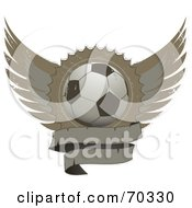 Royalty Free RF Clipart Illustration Of A Distressed Winged Shield With A Blank Banner And A Soccer Ball by elaineitalia