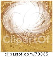 Royalty Free RF Clipart Illustration Of A Golden Swirl With Particles And Bright Light by elaineitalia