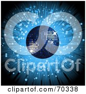 Royalty Free RF Clipart Illustration Of A Blue Burst Background With A Sparkly Disco Ball