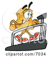 Clipart Picture Of A Badge Mascot Cartoon Character Walking On A Treadmill In A Fitness Gym by Toons4Biz