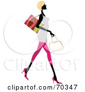 Royalty Free RF Clipart Illustration Of A Faceless Woman Wearing Stylish Clothes And Carrying Shopping Bags Version 3 by OnFocusMedia