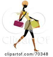 Royalty Free RF Clipart Illustration Of A Faceless Woman Wearing Stylish Clothes And Carrying Shopping Bags Version 2 by OnFocusMedia