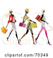 Royalty Free RF Clipart Illustration Of Three Faceless Fashionable Women Carrying Shopping Bags