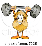 Badge Mascot Cartoon Character Holding A Heavy Barbell Above His Head