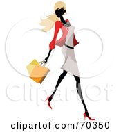 Royalty Free RF Clipart Illustration Of A Faceless Woman Wearing Stylish Clothes And Carrying Shopping Bags Version 1 by OnFocusMedia