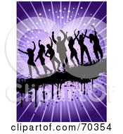 Royalty Free RF Clipart Illustration Of Silhouetted Dance People Over A Purple Burst Background With Grunge