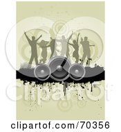 Royalty Free RF Clipart Illustration Of A Group Of Silhouetted Dancers Over A Grunge Bar With Speakers On Tan