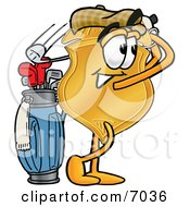 Badge Mascot Cartoon Character Swinging His Golf Club While Golfing