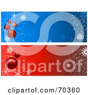 Royalty Free RF Clipart Illustration Of A Digital Collage Of Blue And Red Christmas Bauble Website Headers