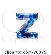 Royalty Free RF Clipart Illustration Of A Blue Electric Symbol Lowercase Z by chrisroll