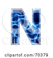Royalty Free RF Clipart Illustration Of A Blue Electric Symbol Capital N by chrisroll