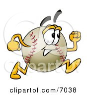 Clipart Picture Of A Baseball Mascot Cartoon Character Running by Toons4Biz