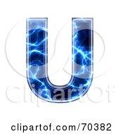 Royalty Free RF Clipart Illustration Of A Blue Electric Symbol Capital U by chrisroll
