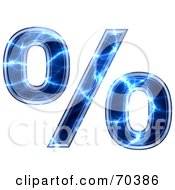 Royalty Free RF Clipart Illustration Of A Blue Electric Symbol Percent by chrisroll
