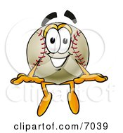 Clipart Picture Of A Baseball Mascot Cartoon Character Sitting by Toons4Biz
