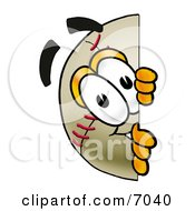 Clipart Picture Of A Baseball Mascot Cartoon Character Peeking Around A Corner by Toons4Biz