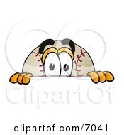 Clipart Picture Of A Baseball Mascot Cartoon Character Peeking Over A Surface by Toons4Biz