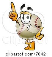 Clipart Picture Of A Baseball Mascot Cartoon Character Pointing Upwards by Toons4Biz