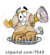 Clipart Picture Of A Baseball Mascot Cartoon Character Serving A Thanksgiving Turkey On A Platter by Toons4Biz