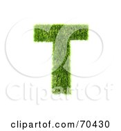 Royalty Free RF Clipart Illustration Of A Grassy 3d Green Symbol Capital T