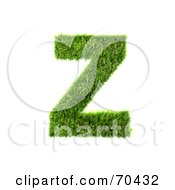Royalty Free RF Clipart Illustration Of A Grassy 3d Green Symbol Capital Z