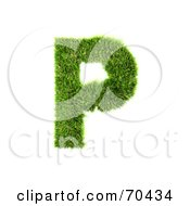 Royalty Free RF Clipart Illustration Of A Grassy 3d Green Symbol Capital P