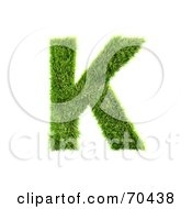 Royalty Free RF Clipart Illustration Of A Grassy 3d Green Symbol Capital K