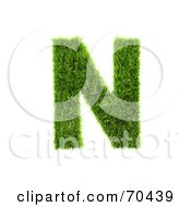 Royalty Free RF Clipart Illustration Of A Grassy 3d Green Symbol Capital N