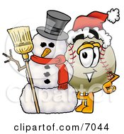 Clipart Picture Of A Baseball Mascot Cartoon Character With A Snowman On Christmas by Toons4Biz