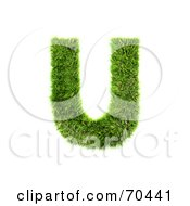 Grassy 3d Green Symbol Capital U by chrisroll
