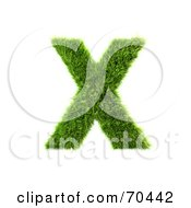 Royalty Free RF Clipart Illustration Of A Grassy 3d Green Symbol Capital X