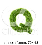 Royalty Free RF Clipart Illustration Of A Grassy 3d Green Symbol Capital Q