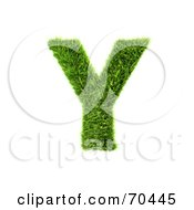Royalty Free RF Clipart Illustration Of A Grassy 3d Green Symbol Capital Y